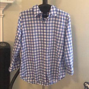American living blue and white gingham shirt